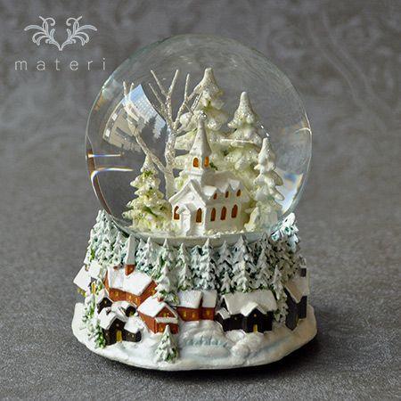 ホワイトチャーチスノードーム5689|クリスマス雑貨の通販【マテリ】 |