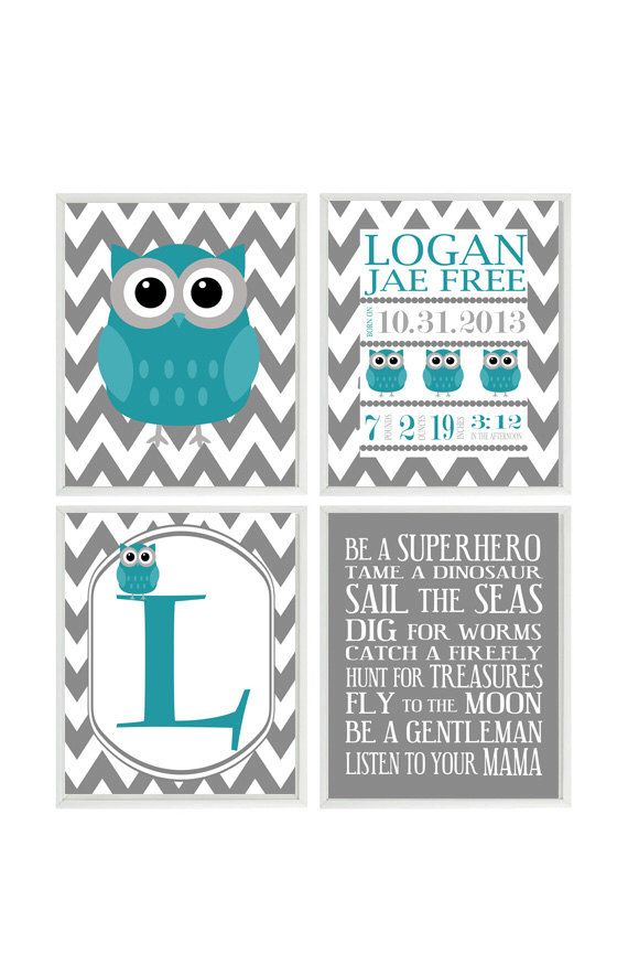 Boy Nursery Art Birth Stats Owl Wall Teal Gray Rules Quote Personalized Chevron Baby
