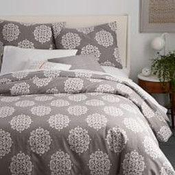 Organic Scroll Medallion Duvet Cover + Pillowcases - Slate