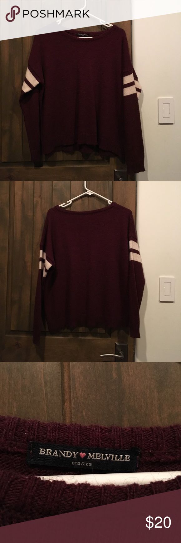 Maroon and White Brandy Melville Sweater Worn once. really good condition. soft material Brandy Melville Sweaters Crew & Scoop Necks