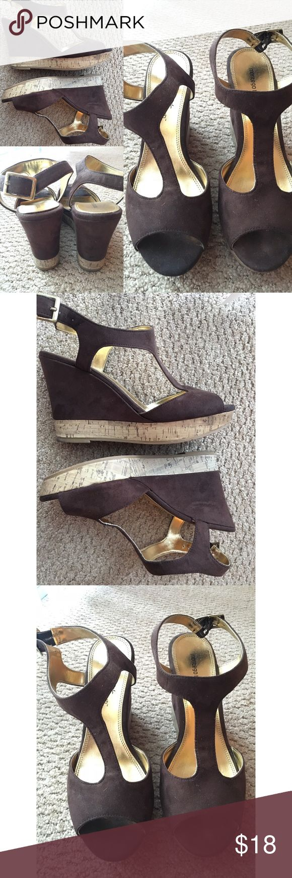 Brown wedges Gently used brown wedges - size 8 1/2 - brand : montegobay club purchased from Payless shoe source - heel is about 4 1/2 inch - no box - pls see pictures - no trades 🎀 Shoes Wedges