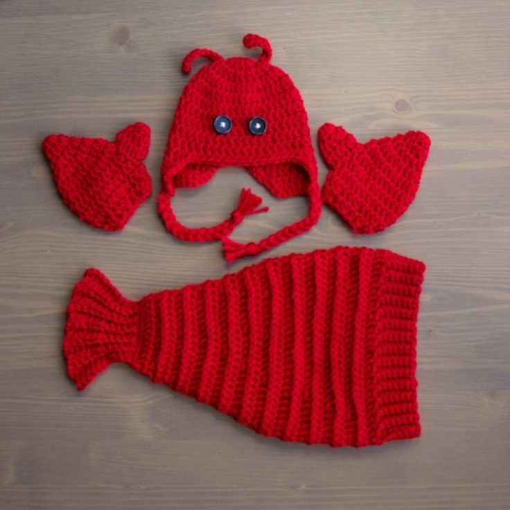 Crochet Lobster Costume, Crocheted Baby Hat, Crochet Baby Hat, Crochet Set, Baby Shower Gift, Newborn Photo Prop, Lobster Hat, Lobster Tail by jackcosmo on Etsy