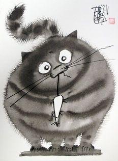 Laszlo Tibay - Le chat à la souris
