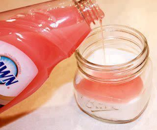 Sugar Hand scrub - kind of like MaryKay's Satin Hands...only cheaper! GREAT GIFT IDEA! - make, put in mason jar, tie with bow, add a tag!  Fill mason jar 3/4 of the way full with sugar. Then add dawn dish soap (I use the pink one that has the olay in it, smells good and moisturizes) until it reaches just below the mouth of the jar. Stir the sugar and soap together until it is paste like. If it seems to be too runny, add a little sugar at a time until it is the desired consistency.