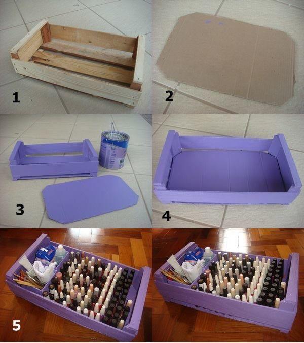 Caixa de esmalte feito com caixa de frutas. | caixas de madeira