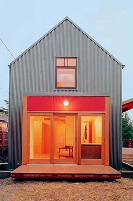 Looks just like the other, but needs a porch. Gable house in corrugated metal... Do a house like this... Add porch.