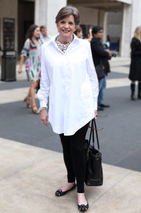 I need to check this website out more frequently: faboverfifty.com; crisp white button down over black leggings.