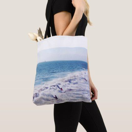 Surfing Waves Sailing Ocean Tote Bag - blue gifts style giftidea diy cyo