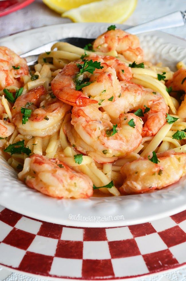This Shrimp Linguine is covered in the most #delicious garlic & lemon sauce.