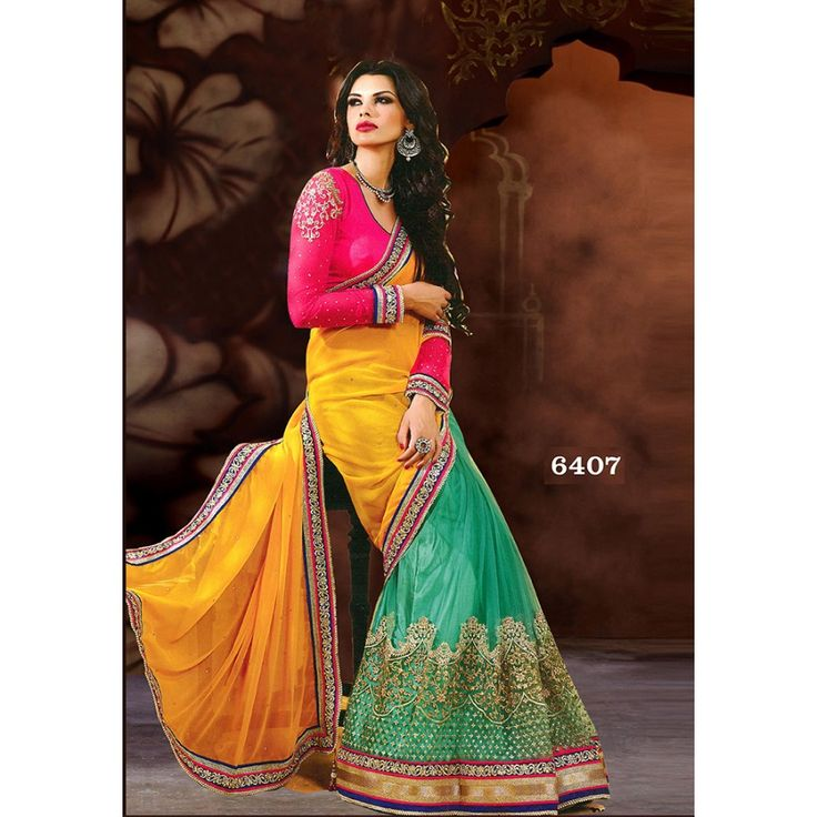 Designer Nirvana Sea green & Yellow Embroidery Georgette Saree with Blouse at just Rs.1875/- on www.vendorvilla.com. Cash on Delivery, Easy Returns, Lowest Price.