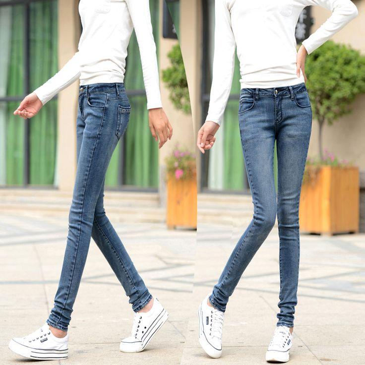 Весна свободного покроя стройный джинсы карандаш брюки ноги тонкие брюки стрейч тонкий весна женщины