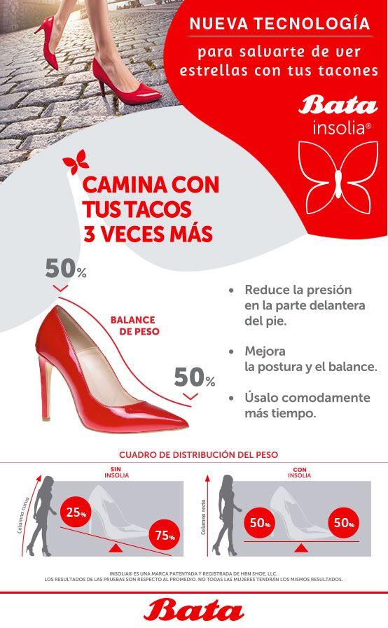Bata Insolia es la nueva tecnología en los zapatos de las mujeres que superen los 4.5 cm de alto. Esta está ubicada en el internamente en el zapato y te permite: balancear el peso, mejor el equilibrio y mantener una excelente postura