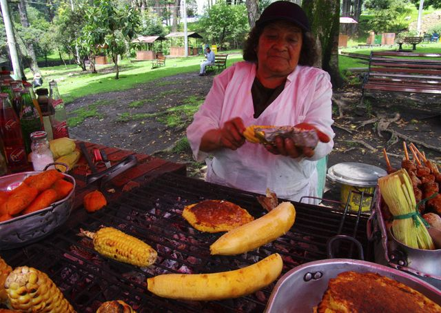This lady has been serving delicious street food from the same spot for 50 years in Bogota Colombia
