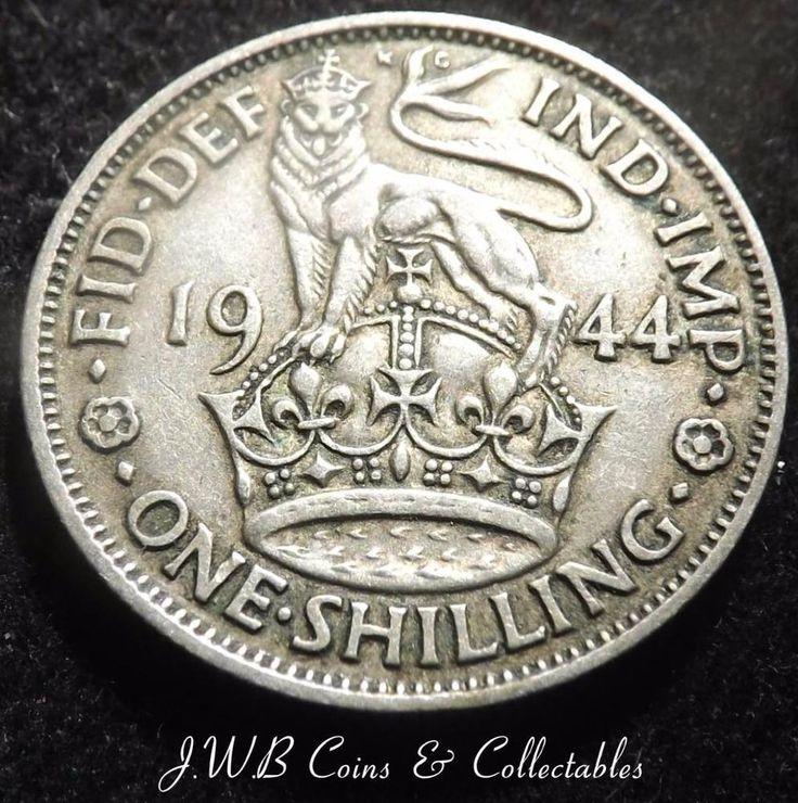1944 George VI English .500 Silver Shilling Coin
