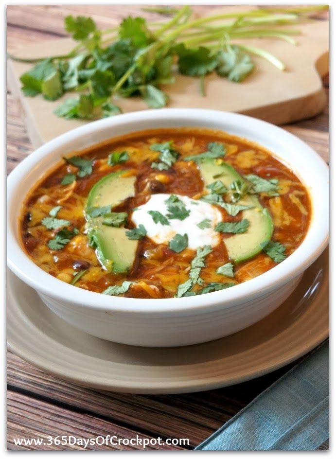 Recipe for Crockpot Chicken Enchilada Soup #crockpot #slowcooker #chicken #soup