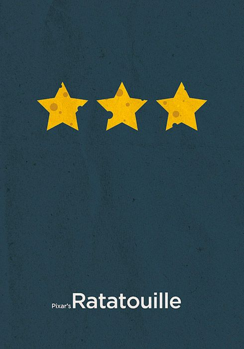 Ratatouille Une affiche minimaliste consiste à utiliser des objets ou des formes qui représenteraient au mieux le film, son thème, son concept.