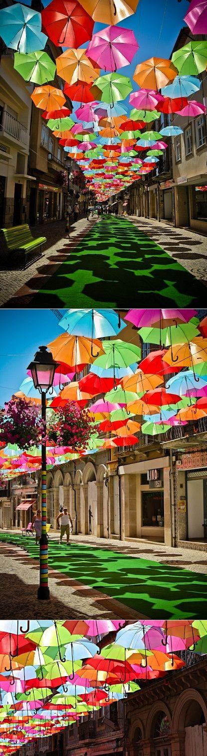 Umbrella Sky in Portugal. very colourful