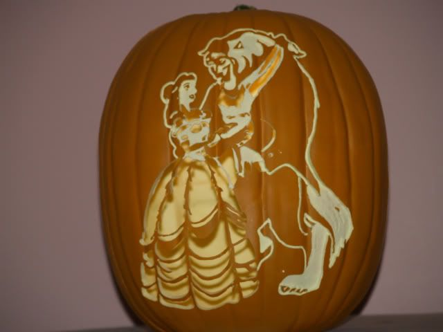Beauty and the beast funkin 2 halloween decor for Boo pumpkin ideas