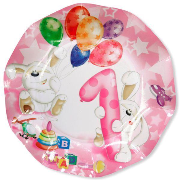 Piatti 1° compleanno bambina pz.8 EX41QPN8   Europarty
