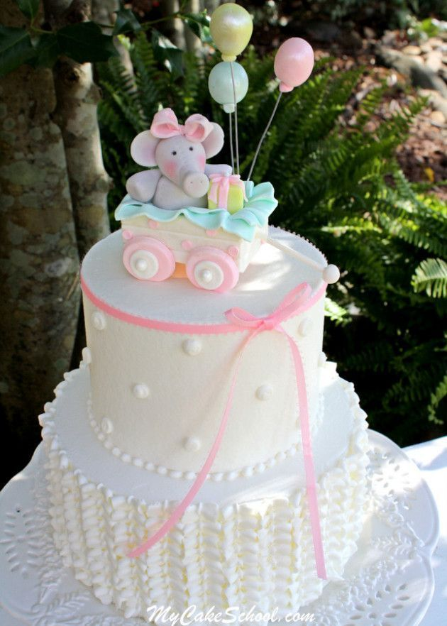 Elephant And Wagon Cake With Buttercream Ruffles Video Bolo De