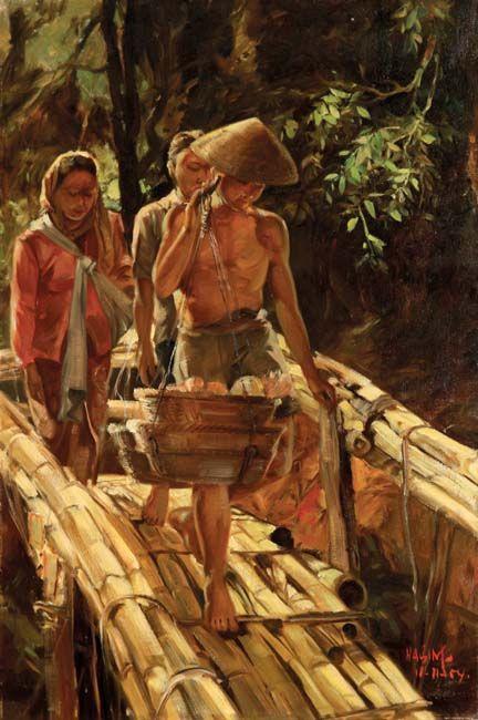 Crossing the Bridge, 1954 #Indonesianart #art http://livestream.com/livestreamasia