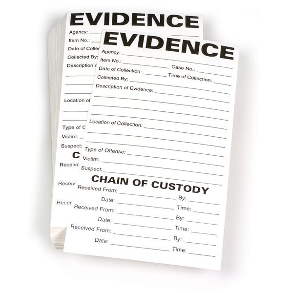 Use these labels to record important information regarding the evidence, as well as a chain of custody. Available with Evidence Record