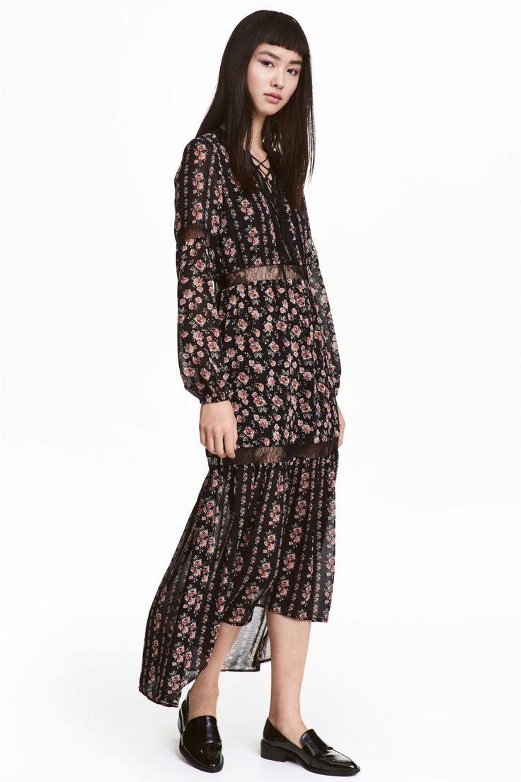Maxi-jurk van chiffon - Zwart/rozen - DAMES   H&M BE