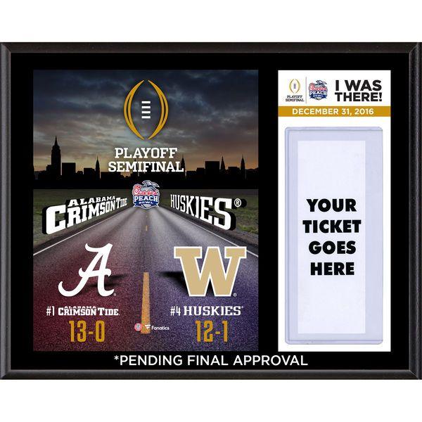 "Fanatics Authentic Alabama Crimson Tide vs. Washington Huskies 2017 College Football Playoff 2016 Peach Bowl 12"" x 15"" ""I Was There"" Sublimated Plaque - $39.99"