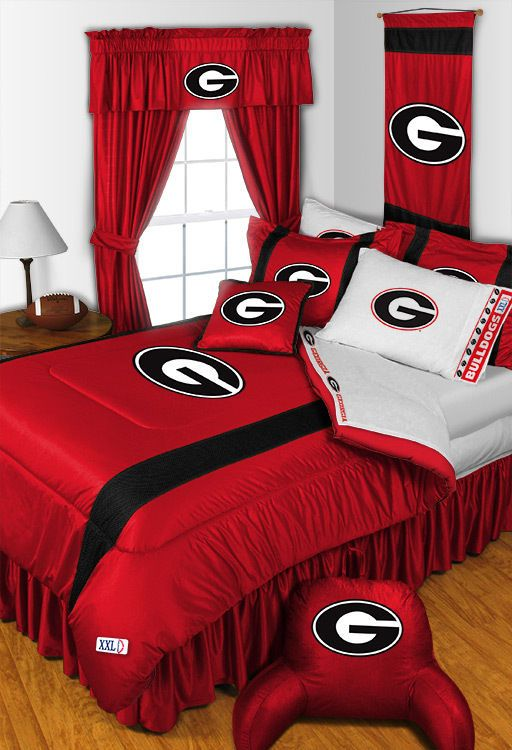Georgia Bulldogs NCAA Sidelines Room Comforter and Sheet Set Size Queen  #SportsCoverage