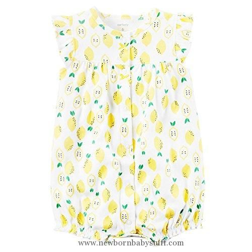 Baby Girl Clothes Carters Baby Girls Snap-Up Cotton Romper Lemon Print, White, 18M