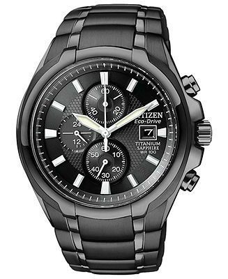 Citizen Watch, Men's Chronograph Eco-Drive Black Titanium Carbide Ion-Plated Bracelet 42mm CA0265-59E - All Watches - Jewelry & Watches - Macy's - mens black gold watches, branded watches for mens, mens designer watches sale