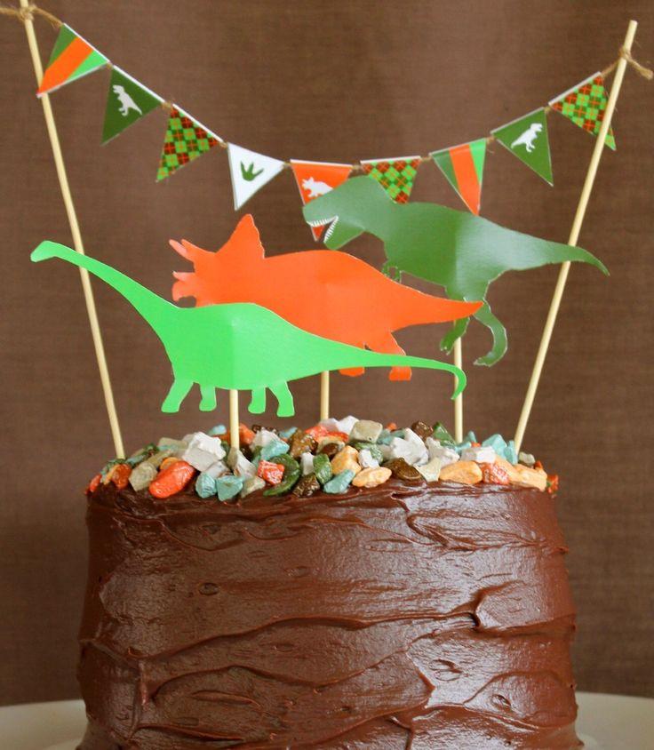 DINOSAUR CAKE DECORATION and Mini Cake Bunting - Printable - Dinosaur Birthday Party - diy- Digital File - Instant Download - Cake Topper by LoveThatPartyInvites on Etsy https://www.etsy.com/listing/236579798/dinosaur-cake-decoration-and-mini-cake