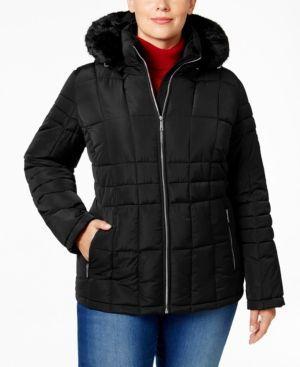Calvin Klein Plus Size Faux-Fur-Trim Puffer Coat -