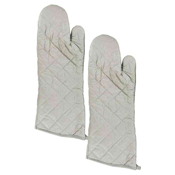 Large Silver Oven Mitts Set