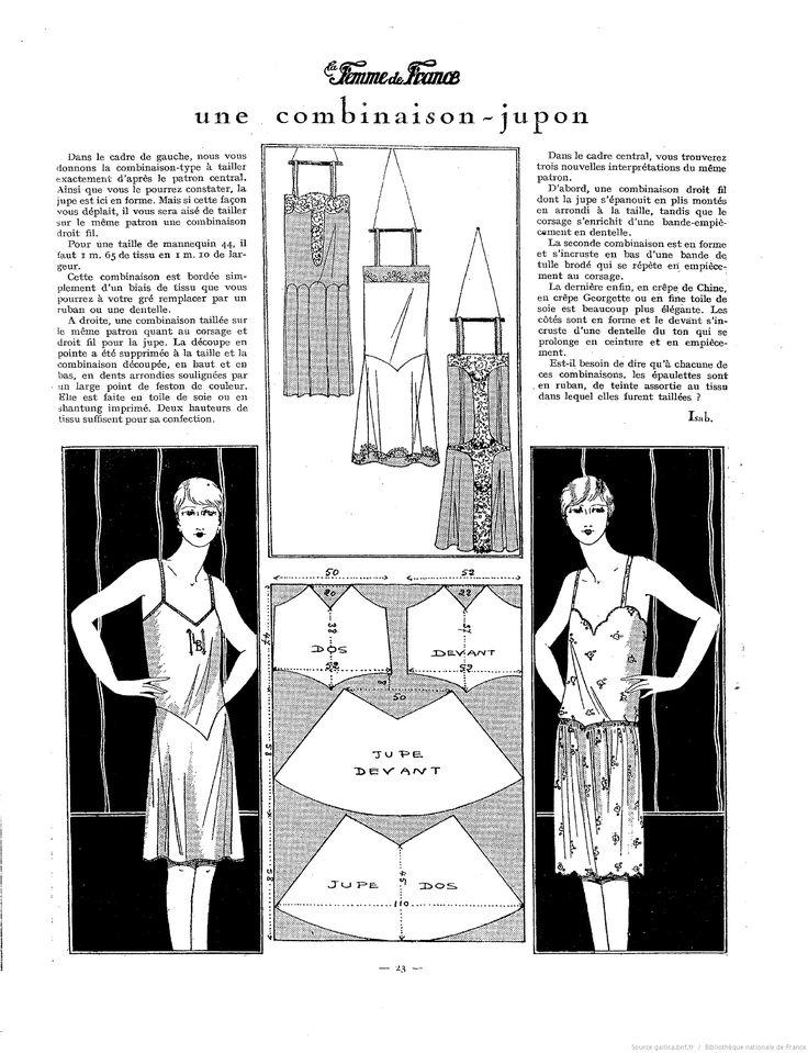 1927. Une combinaison jupon. Combination underwear slip pattern. La Femme de France. January 30, 1927. [http://gallica.bnf.fr/ark:/12148/bpt6k5519478m/f24]