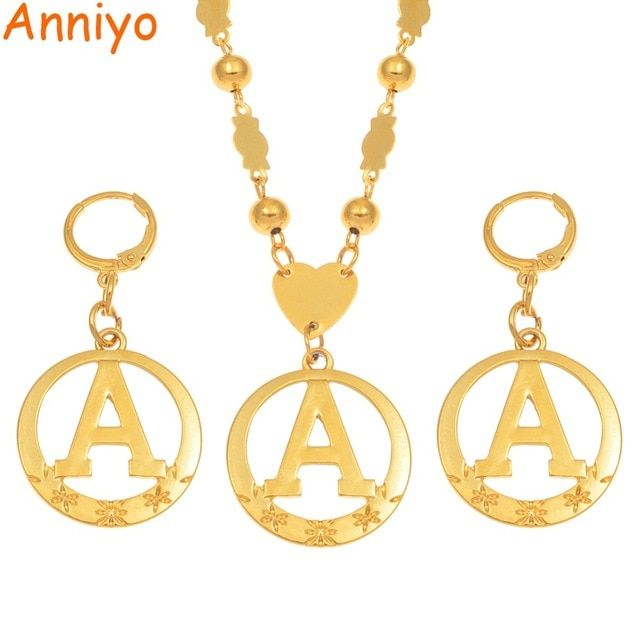 dc86fe94a Anniyo A-Z 60CM Beads Letters Necklaces Gold Color Marshalls Initial  Alphabet Ball Chains Micronesia Jewelry