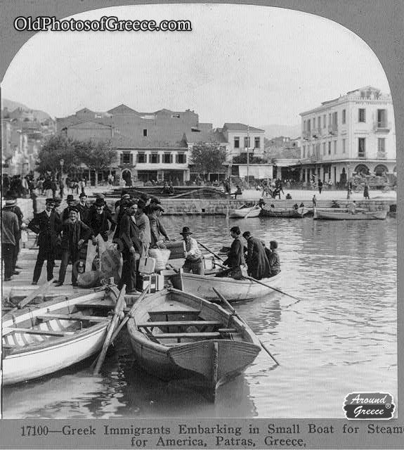 Greek Immigrants embarking for America from Patra Greece