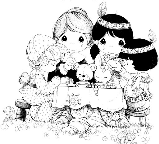 Precious Moments Thanksgiving coloring page