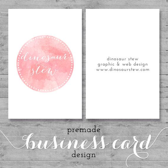 watercolor business card design  pink watercolor  by DinosaurStew, $13.50