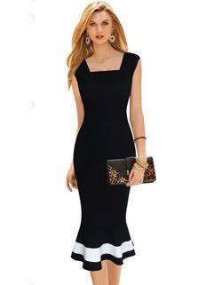 Euro Style Color Block Fishtail Dresses