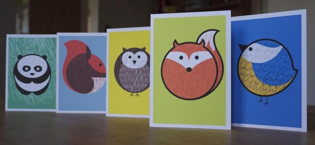 Jolly animal greeting cards, set of 5 £5.00