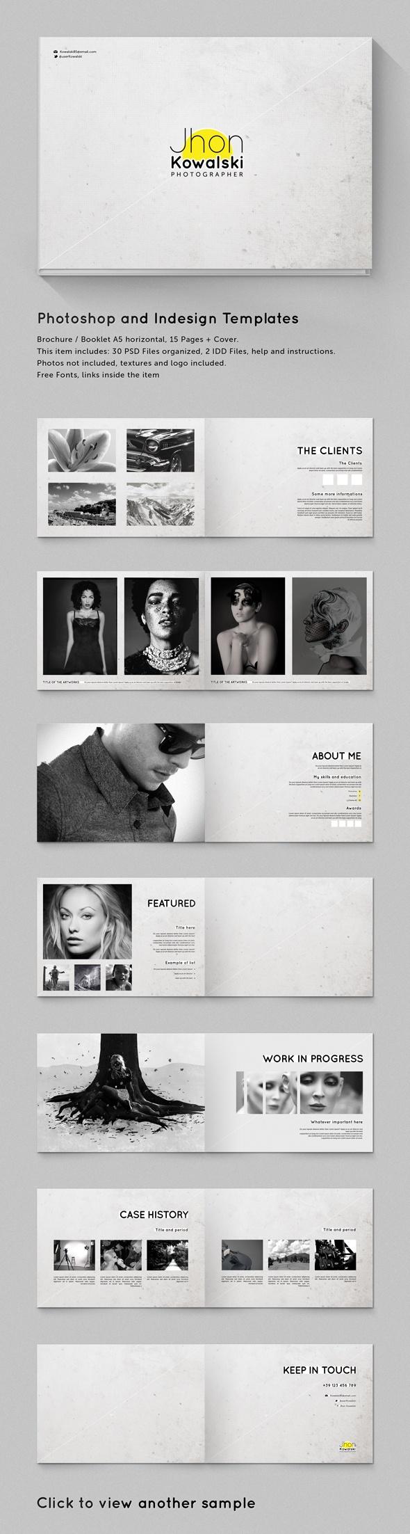 A5 Brochure - Booklet Template Minimal Portfolio by Gianluca Giacoppo, via…