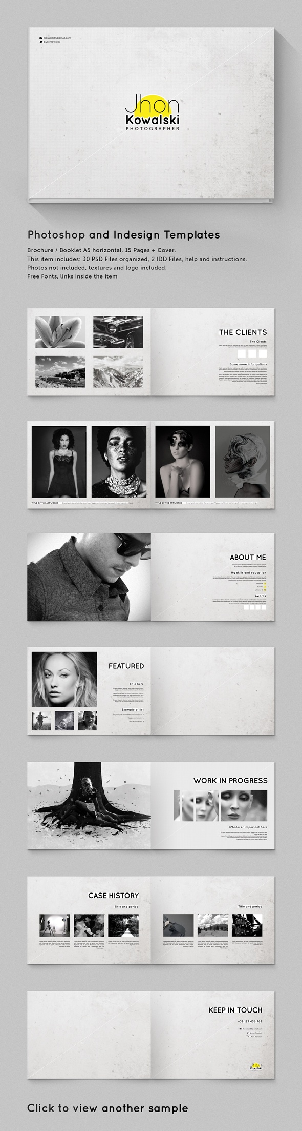 A5 Brochure - Booklet Template Minimal Portfolio by Gianluca Giacoppo, via…