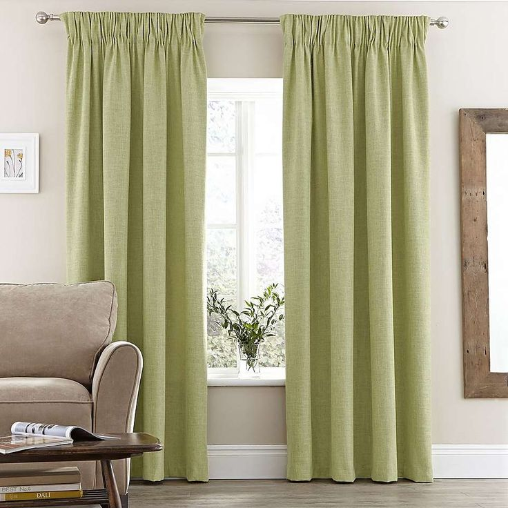 Vermont Green Lined Pencil Pleat Curtains | Dunelm