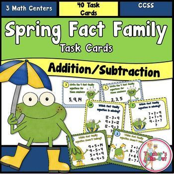 Spring Fact Family Addition and Subtraction Task Cards includes 3 Math Centers.