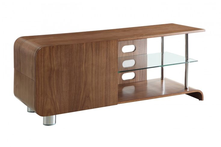 """Jual Furnishings BS202 Walnut TV Stand For Up To 55"""" TVs - Finished with sweeping curves, real walnut veneer, polished chrome supports and tempered glass shelf, this TV stand is both practical and sophisticated."""