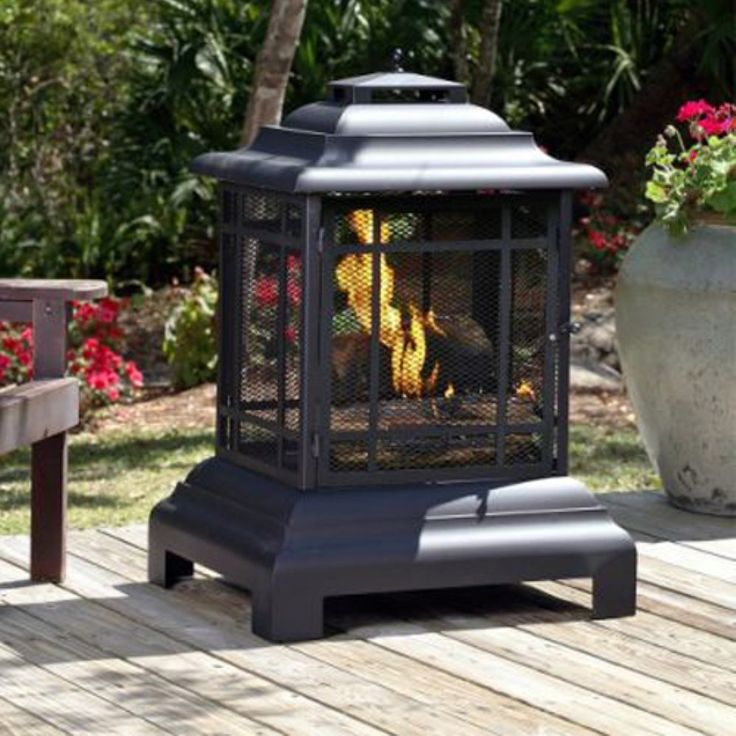 Fire Sense Rectangle Pagoda Patio Fireplace - Asian-inspired style makes the Fire Sense Rectangle Pagoda Patio Fireplace a perfect freestanding outdoor fireplace for patio entertaining. Constructed...
