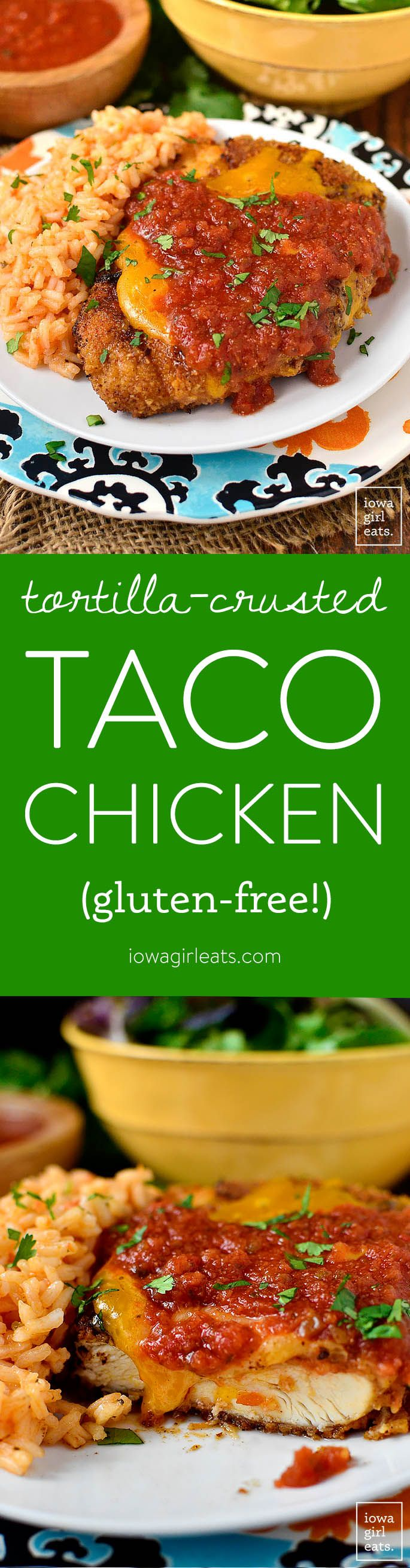 Tortilla-Crusted Taco Chicken is a family-favorite. Gluten-free, and full of flavor and crunch! | iowagirleats.com