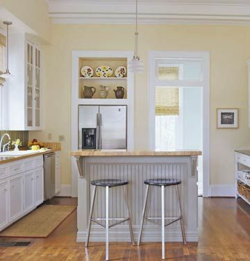 Idea for kitchen peninsula. Love the beadboard backing and the size.