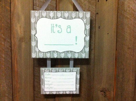Lillou Handmade Gender surprise, gender neutral hospital door sign, gender announcement sign on Etsy, $35.00